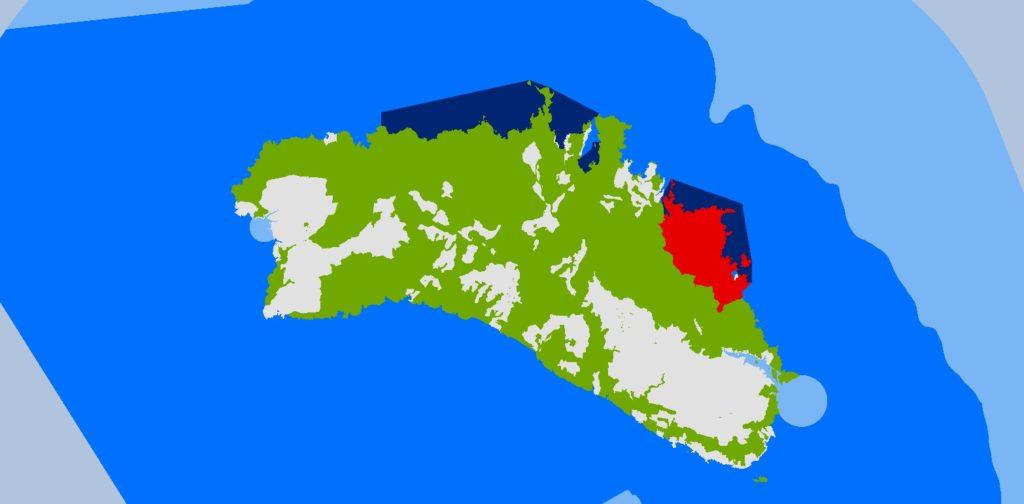 Mapa de zonificació de la Reserva de Biosfera, amb les zones nucli (vermell i blau fosc), zones de transició (verd i blau marí) i zones d'amortiment (gris i blau cel).